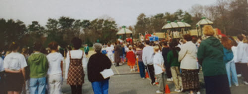 Families attending the school's playground ceremony in 2000.