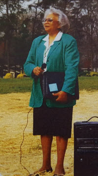 Prinicipal Barbara Hubbard at the playground opening ceremony in 2000.