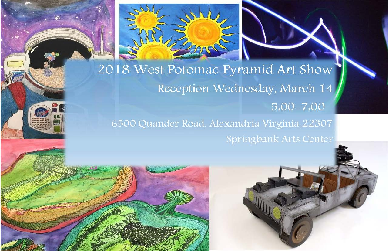Art show flyer with student art